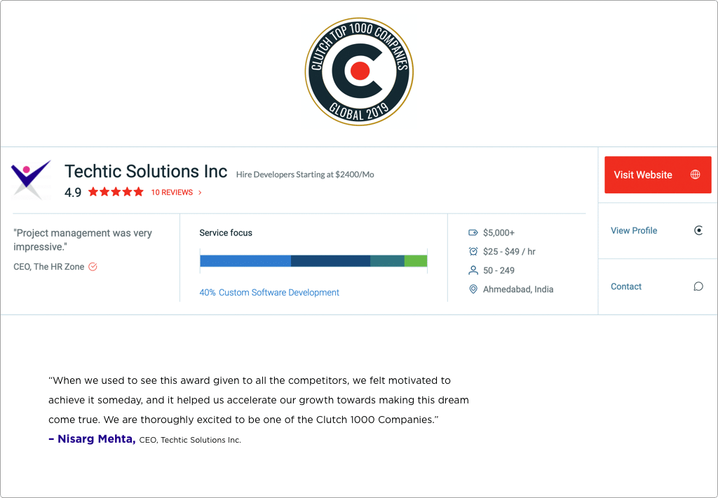 Techtic Solutions Inc. Listed on Clutch 1000