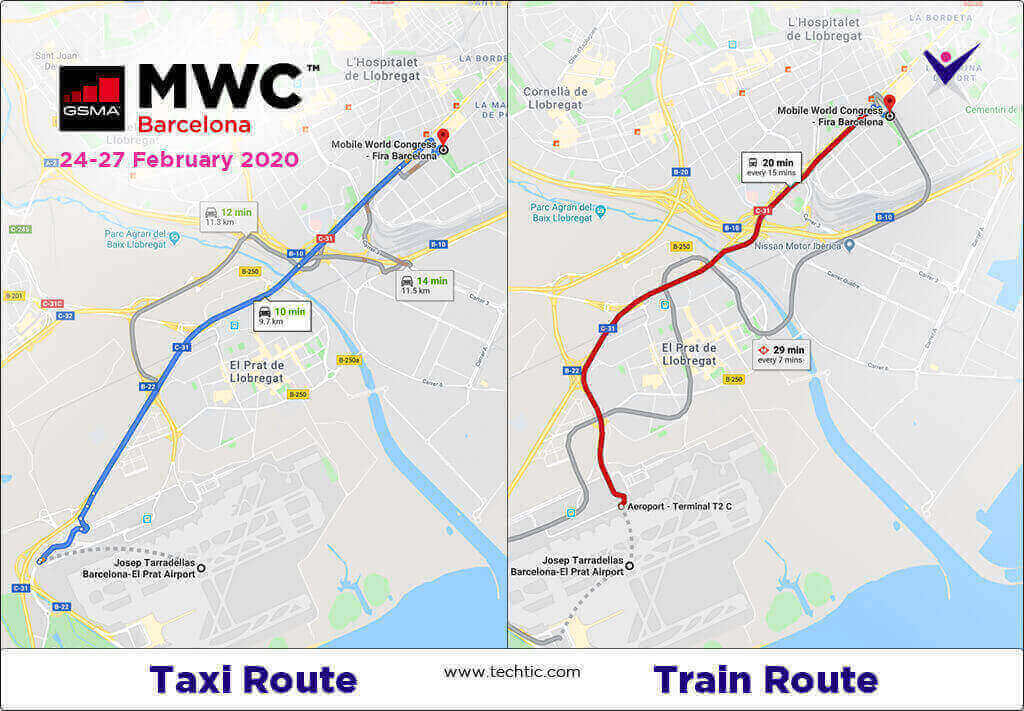 MWC20 Events Train & Taxi Route