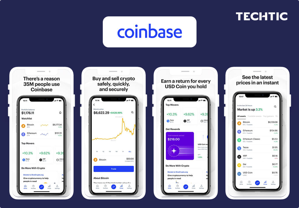 Best Fintech Apps with Blockchain 2021 - Coinbase - A Cryptocurrency Wallet App