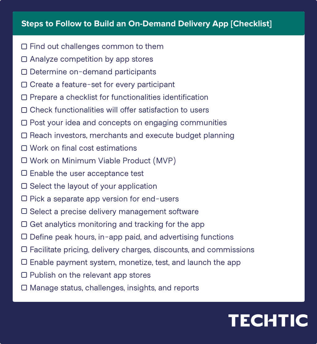 Steps to Follow to Build an On-Demand Delivery App [Checklist]